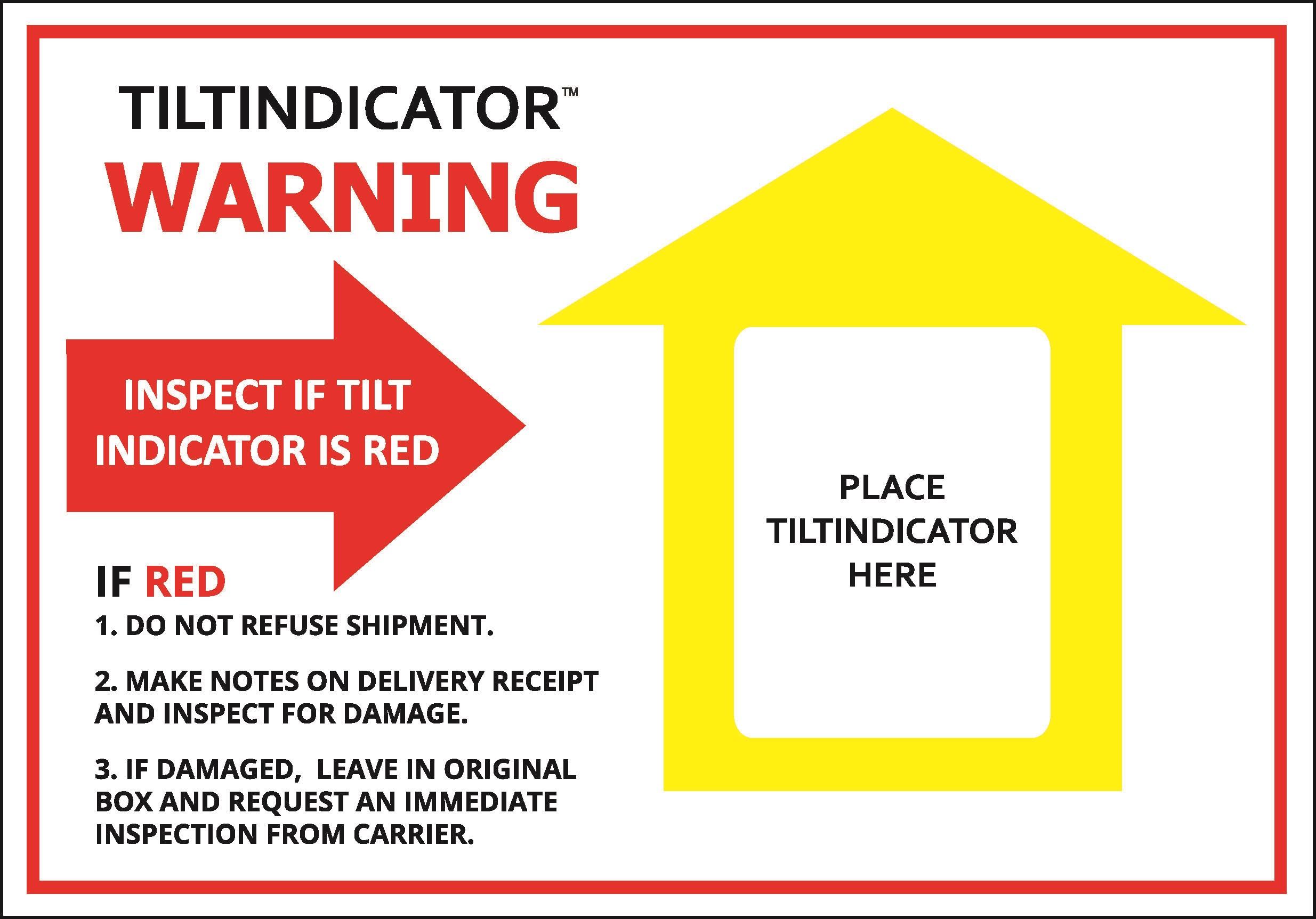 Warnhinweis-Label für Kippindikatoren