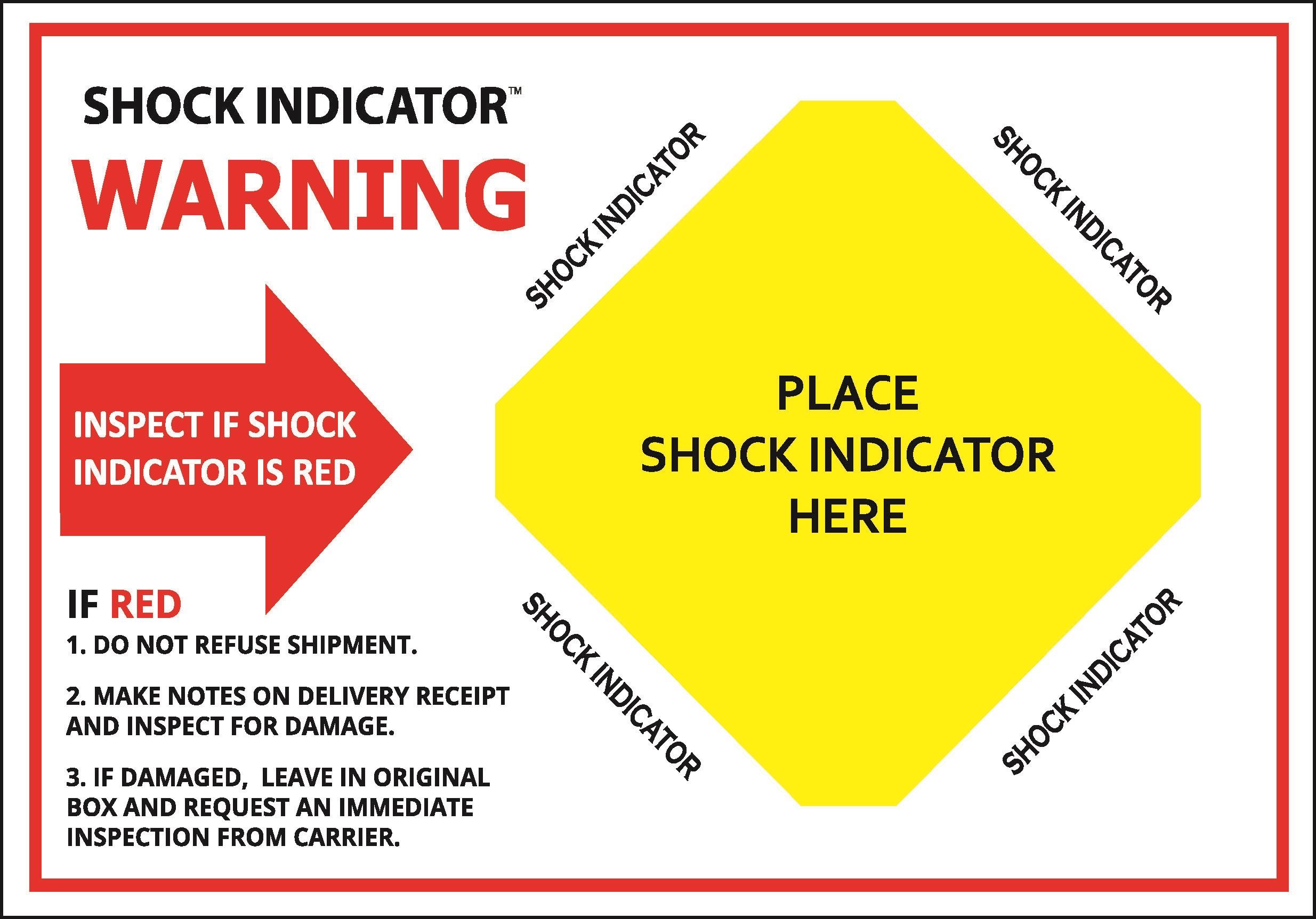 Warnhinweis-Label für Schockindikatoren