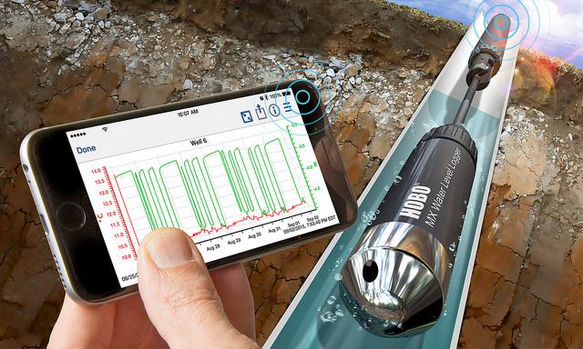 HOBO MX2001 Bluetooth Wasserstands-Datenlogger 4 Meter Einsatztiefe